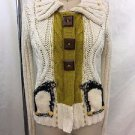 FIELD FLOWER CREAM/ AVOCADO WOODEN BUTTON SNAP DOWN CARDIGAN SWEATER SIZE S