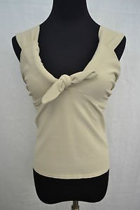 VALENTINO BEIGE KNIT CAMI W/ BOW SIZE LARGE RETAIL $1190