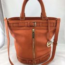 MICHAEL MICHAEL KORS ORANGE LEATHER TWO STRAP BUCKET BAG W/ SHOULDER STRAP