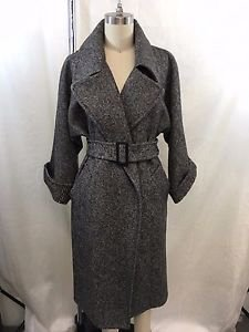 MAX MARA MACARIO BLACK/ GRAY BELTED TRENCH COAT SIZE 2 RETAIL $2,350