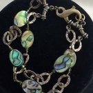 "Athena Designs Sterling Silver .925 Abalone shell  2 tier bracelet 7"""
