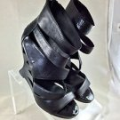DONALD J PLINER BATAIA BLACK LEATHER CUT OUT WEDGE CUFF HEELS SIZE 9.5 M