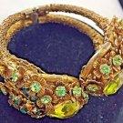 "VINTAGE MIRIAM HASKELL GREEN GLASS & crystal gold tone BRACELET 7"""