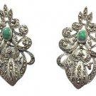 Vintage .925 Sterling Silver Marcasite Filagree w/ Green Stone Earrings