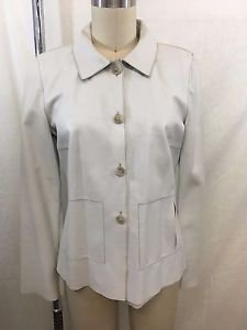 ROZAE NICHOLS IVORY LEATHER THREE BUTTON DOWN JACKET SIZE S