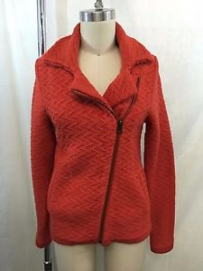 LUCKY BRAND RED ORANGE KNIT ZIP SWEATER JACKET SIZE XS
