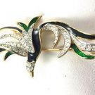 60's Enamel Gold Tone Rhinestone Green & Black Bird Broach
