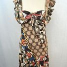 JUST CAVALLI BROWN MULTI-PRINT RUFFLE STRAPS COCKTAIL DRESS SIZE 40