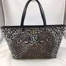 SALVATORE FERRAGAMO CHEETAH PRINT FABRIC/ LEATHER TRIM BICE TWO STRAP TOTE