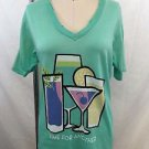 """WILDFOX MINT DISTRESSED """"TIME FOR ANOTHER"""" V-NECK T-SHIRT SIZE XS"""