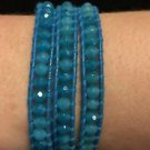 "Chan Luu  22"" Wrap Bracelet Blue Wrap Leather Blue Crystal Beads .925 Clasp"