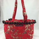 PETUNIA PICKLE BOTTOM RED FLORAL ASIAN PRINT FABRIC TWO STRAP TOTE BAG