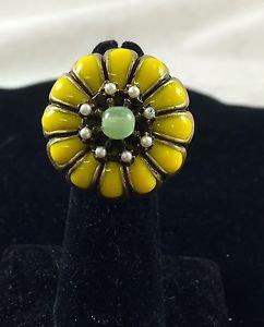 Ollipop Sweet Romance  Yellow stone Vintage Style Adjustable Ring 7 1/2