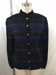 ST JOHN COLLECTION BLACK/ BLUE/ GREEN KNIT CARDIGAN SWEATER SIZE 8