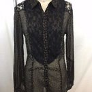 FREE PEOPLE BLACK SHEER LACE GOLD LEAF PRINT BUTTON DOWN SHIRT SIZE XS
