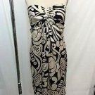 LAUREN RALPH LAUREN DRESS CREAM/ BLACK STRAPLESS RUCHED FRONT DRESS SIZE 10