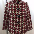 MILLY RED/ CREAM/ BLACK ROUND PRINT WOOL SWING JACKET SIZE 2