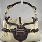 JIMMY CHOO TULITA SHEARLING BROWN LEATHER TRIM SHOULDER BAG