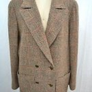CHANEL BOUTIQUE BROWN/ RED PLAID WOOL JACKET SIZE 44