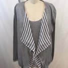 MAJESTIC FILATURES PARIS GRAY WHITE/ NAVY STRIPED TANK/ SWEATER SET SIZE 2