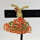 HOBE VINTAGE ORANGE/ YELLOW RHINESTONE DANCER PIN