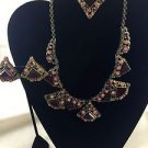Vintage gold tone necklace earrings and broach set Rhinestones 16""