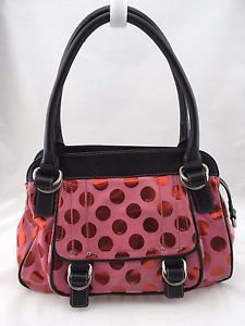 MARC JACOBS PINK SUEDE RED SHIMMER POLKA DOT TWO STRAP SATCHEL BAG