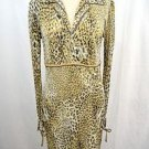 LEONARD PARIS GOLD LEOPARD PRINT SILK SHIRT DRESS W/ TIE SLEEVES SIZE 38