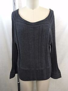 BABETTE CHARCOAL WOOL BELL SLEEVE SCOOP NECK SWEATER SIZE M