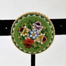 GREEN MICRO MOSAIC MADE IN ITALY FLORAL ROUND PIN