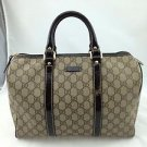 GUCCI JOY GG SUPREME SIGNATURE CANVAS/ BROWN PATENT TRIM BOSTON BAG