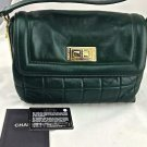 RARE Chanel large Forest Green Square Quilted Single Flap Handbag Gold Hardware