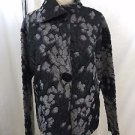BRIGITTE NYC BLACK/ GRAY EMBROIDERED 2 BUTTON JACKET SIZE SMALL