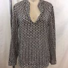 TORY BURCH BROWN/ WHITE DOT PRINT PAILETTES TUNIC BLOUSE SIZE 4