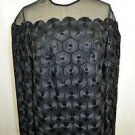 BALLIETS WILLIAM PEARSON BLACK EMBROIDERED DISK DESIGN SHEER NECK BLOUSE SIZE 8