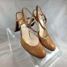 PRADA MUSTARD YELLOW OSTRICH EMBOSSED ANKLE STRAP HEELS SIZE 37