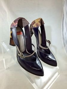 GOFFREDO FANTINI PLUM LEATHER SNAKE DETAIL PUMPS SIZE 36.5