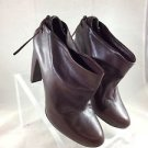 VERA WANG LAVENDER BROWN LEATHER TIE BACK BOOTIES SIZE 10