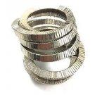 Silvertone spring 10 wrap segmented Bracelet