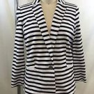 BANANA REPUBLIC BLACK/ WHITE STRIPED ONE BUTTON BLAZER SIZE 4