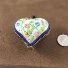 LIMOGE WHITE W/ BLUE TRIM HEART W/FLOWERS TRINKET BOX  W/ GOLD TONE TRIM