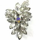 Vintage Flower Design Silver Tone Chunky Crystal Brooch Pin