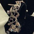 """.925 STERLING SILVER Chain CHARM BRACELET Beads, Fan, Flower 7"""""""