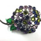 Vintage Large Multi Color Crystal Flower Brooch