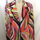 MING WANG PINK/ ORANGE/ LIME ABSTRACT PRINT HOOK KNIT BLAZER SIZE S