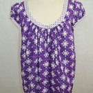 MILLY ORCHID PURPLE / WHITE SCOOP NECK BLOUSE SIZE 10 RETAIL $221