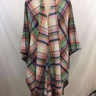 LAUREN RALPH LAUREN MULTI PASTEL PLAID WOOL PONCHO ONE SIZE RETAIL $398
