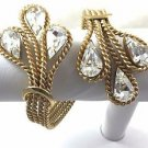 "Napier Rhinestone Braided gold tone cuff bracelet  71/2"" Adjustable"