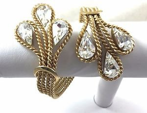 "Napier Rhinestone Braided gold tone cuff bracelet  71/2"" Adjustable"