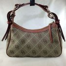 DOONEY & BOURKE GREEN MONOGRAM/ BROWN LEATHER BUCKLE STRAP SHOULDER BAG